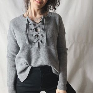 NWOT MADEWELL Lace Up Pullover Merino Wool